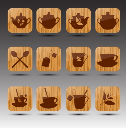 Set of wooden buttons. Tea theme.  Stock Vector - 16824688