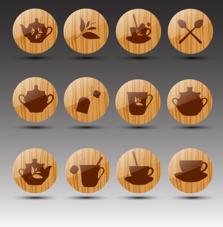 Set of wooden buttons. Tea theme. Stock Vector - 16824687