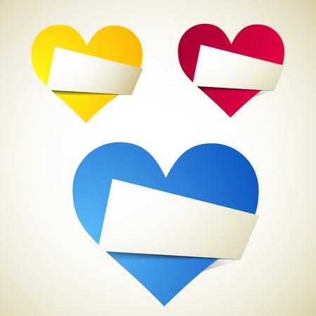 simple border: Origami heart. Vector Illustration