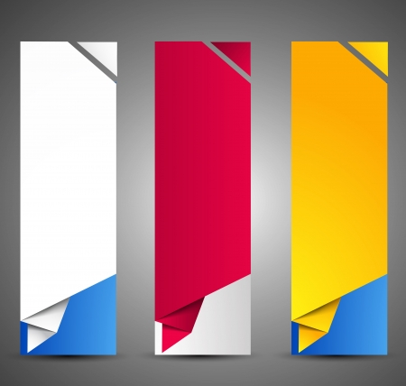 paper fold: Set of origami web banners  Illustration