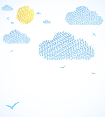 Good weather background  Blue sky with clouds  Vector Stock Vector - 17255796