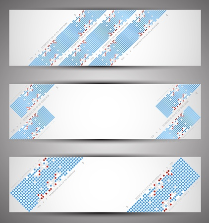 Horizontal web banners. Pixel art. Vector