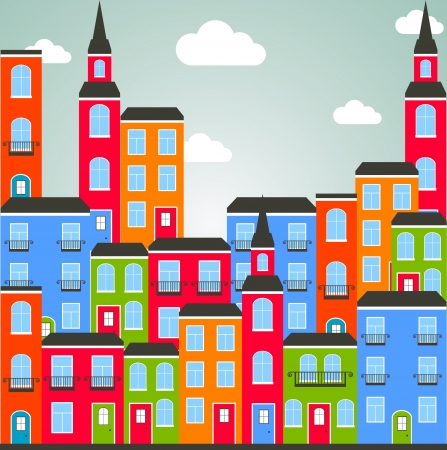 town modern home: Color city background