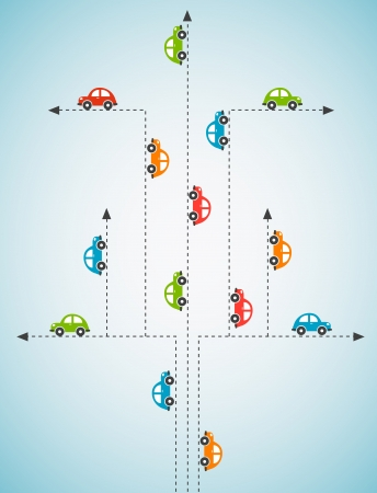 car rent: Abstract background with color cars  Illustration