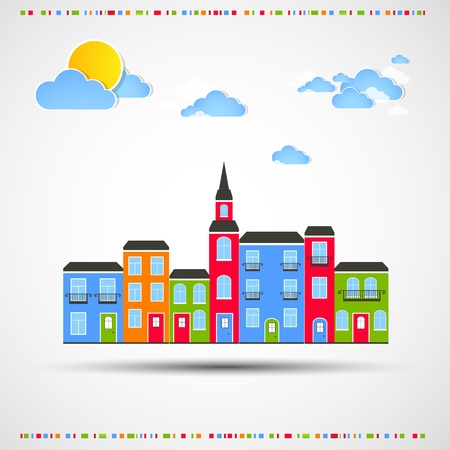 little town: Funny city theme background with sun and clouds  Illustration