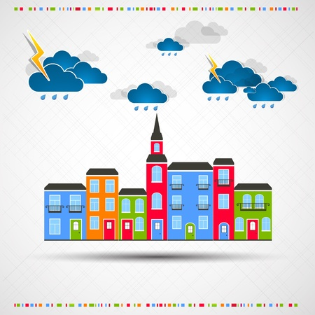 town modern home: Funny city theme background with rain  Illustration