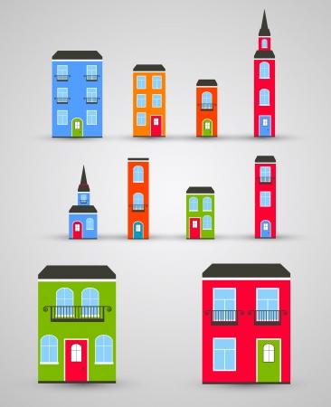 casita de dulces: Conjunto de edificios Vector divertido