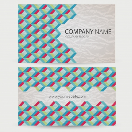 visit card: Abstract retro-style set of cards  Vector