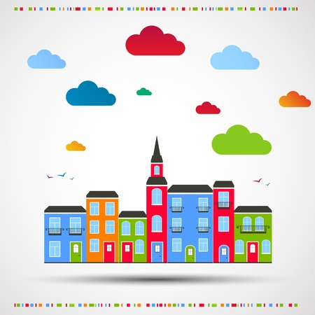 fantasy art: Abstract color background  City theme  Vector