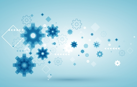 technical background:  abstract background with blue cogwheels  Illustration