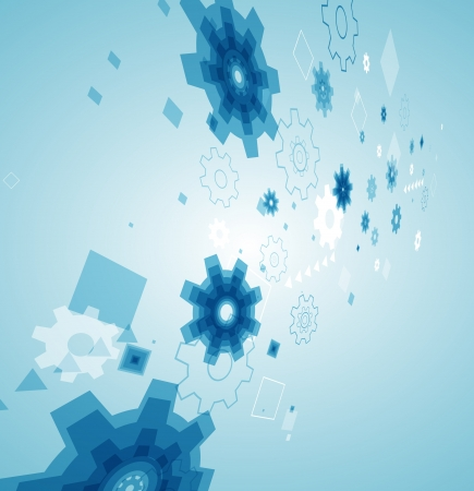 abstract background with blue cogwheels  Vector