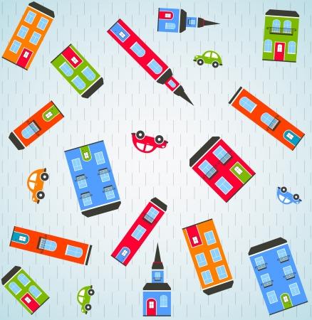 multi storey: Color city background   Illustration