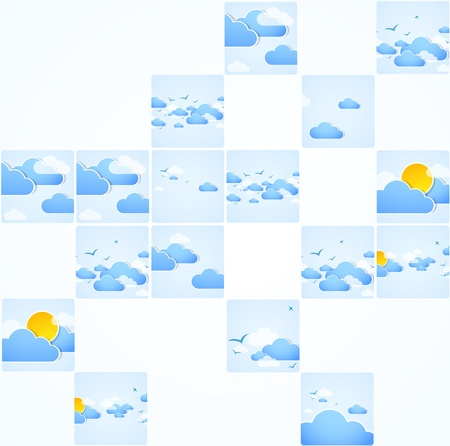 Mosaic theme  Good weather background  Blue sky with clouds   Vector