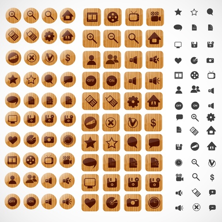 Big set of wooden web icons   Vector