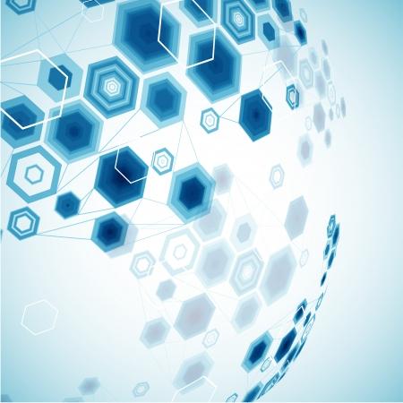 hexagonal: Abstract hexagonal sphere  Vector background Illustration