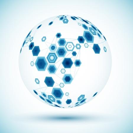 hexagonal: Abstract hexagonal sphere  Vector background
