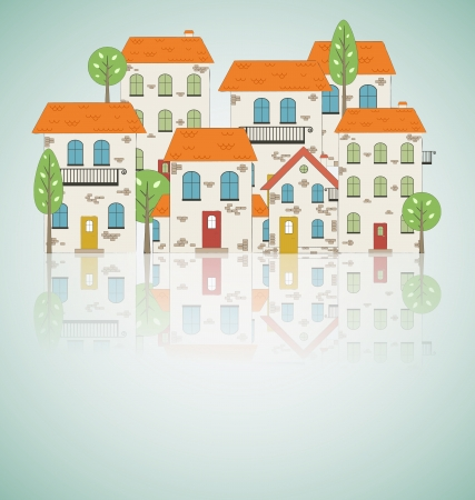 Housing Decoration Old City Background Vector Illustration