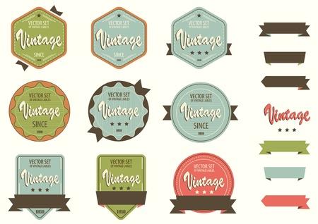 Vintage Labels template set  Retro logo template design  Ilustracja