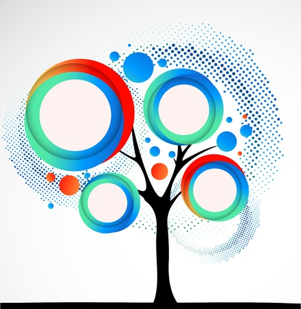 Abstract funny tree with round shapes. Vector Vector