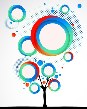 circle shape: Abstract funny tree with round shapes. Vector