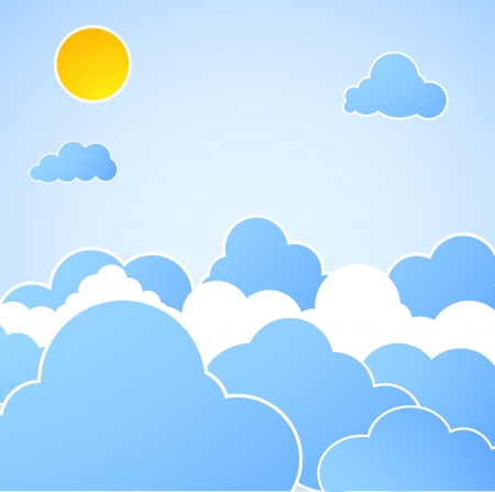 Good weather. Blue sky background. Vector