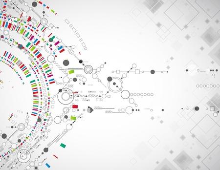 technologie: Abstraktní technologické zázemí s různými technologickými prvky Ilustrace