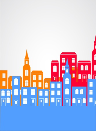 residential neighborhood: City silhouette background.