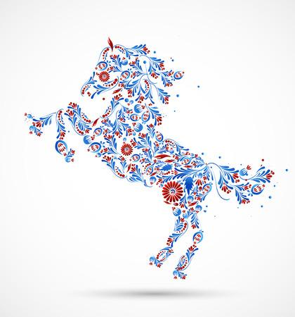 Astratto cavallo floreale.