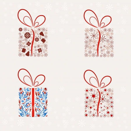 Set of Abstract Christmas present box. Vector