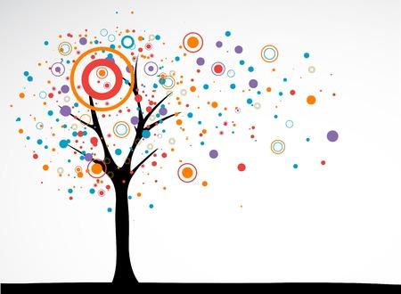 Arbre stylisé simple avec cercles et des points Banque d'images - 24983142