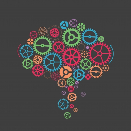 compute: Colorful gearslike a brain. Abstract background