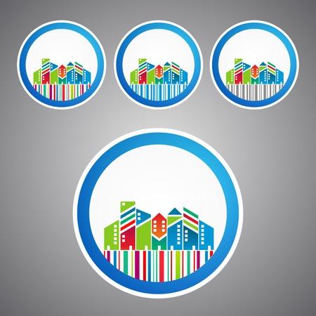 Set of town city concept sale sticker Vector