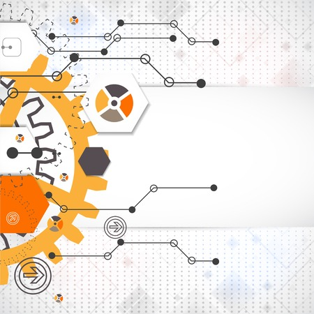 Fondo tecnológico abstracto con diversos elementos tecnológicos Foto de archivo - 31452598