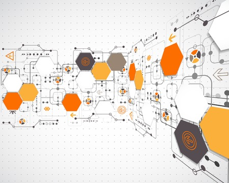 computer software: Abstract background with technological elements Illustration