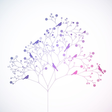 Birds on the tree. Retro style Vector