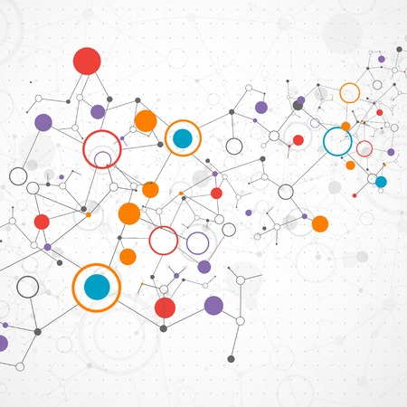 connect the dots: Network color technology communication background Illustration