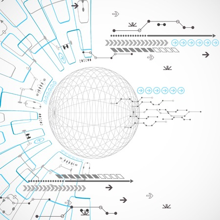 Abstract technological background with various elements Vector