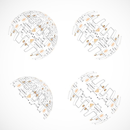 Set of abstract technology spheres Vector
