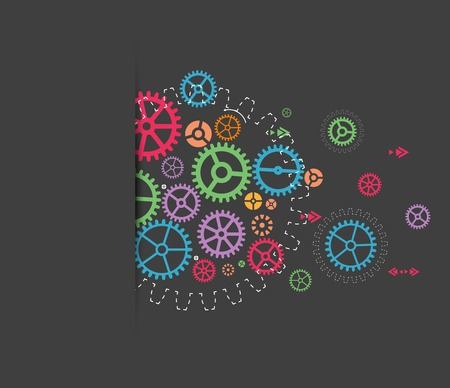 Abstract technology background with colorful gears. Vector illustration Vector
