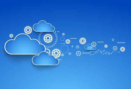 Cogwheel cloud theme. Vector illustration