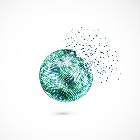 digital globe: Sphere explosion. Illustration