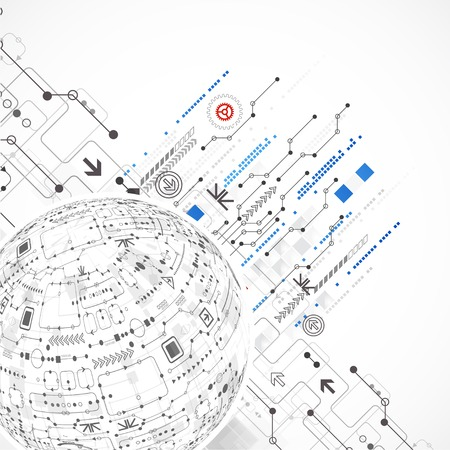 Fondo tecnológico esfera abstracta con diversos elementos de alta tecnología