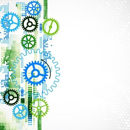 engranajes: Fondo tecnol�gico rueda dentada abstracta. Vector