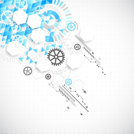 Abstract technological background with various technological elements. Vector Vector
