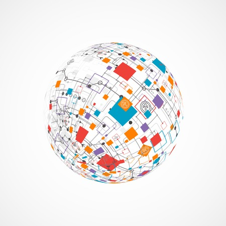 tecnologia informacion: Resumen de tecnolog�a de fondo mundo. Vector