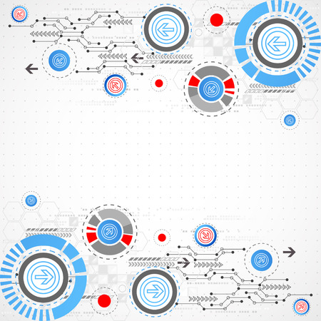 Abstract technological background with circles and arrows. Vector