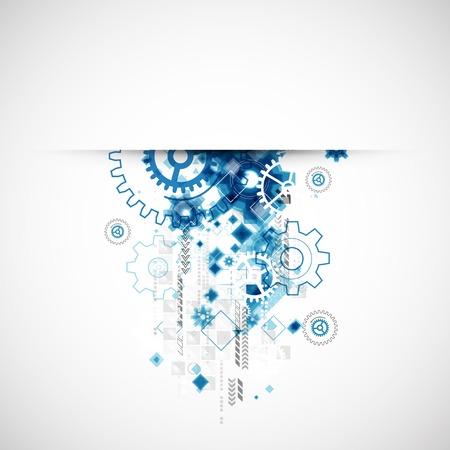 Fondo tecnológico abstracto con diversos elementos tecnológicos