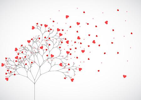 Abstracte boom gemaakt met harten. Vector