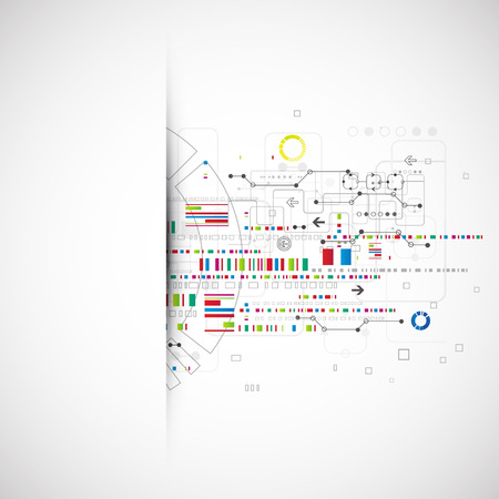 computer scientist: Abstract technology background with various technological elements. Vector Illustration