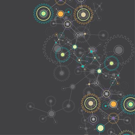 industrial scientific: Abstract cogwheel technology net background. Vector